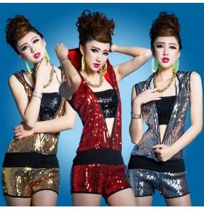 0417323757 Red gold gray silver black sequins v neck zipper open front elastic waist women s  girls stage