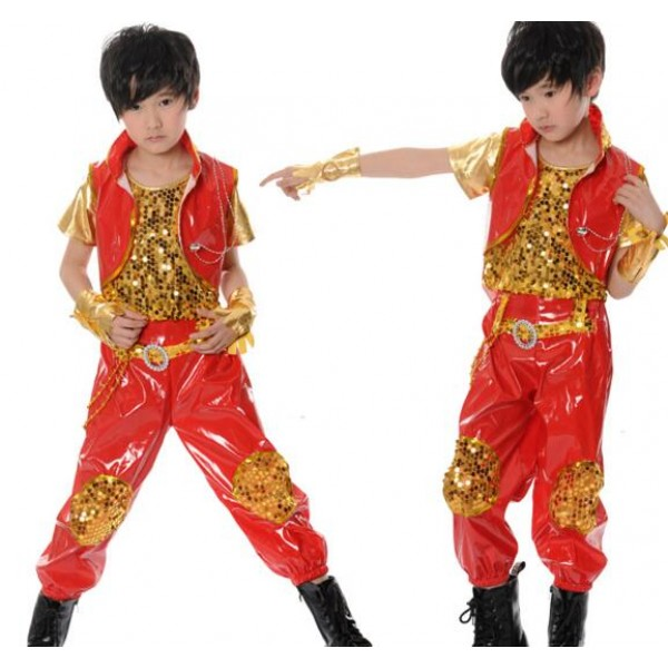 6cc44d7d8 Red gold patchwork boys children baby toddlers kids child modern dance  school play t show jazz dance hip hop dance outfits costumes