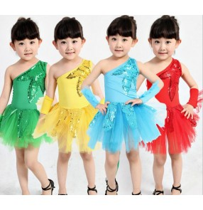 Red green paillette  turquoise yellow sequined colored  one shoulder  girls kids child children toddlers kindergarten latin stage performance modern dance jazz dj ds stage performance cos play dance dresses costumes