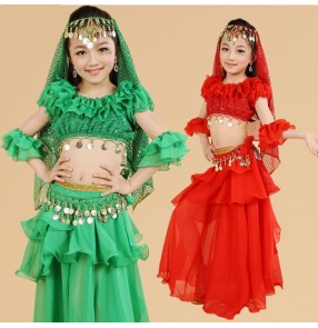 Red green yellow chiffon material girls kids children stage performance school play Indian belly dance dresses costumes dresses outfits