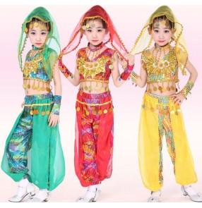 Red green yellow with head piece scarf sequined girls kids child children toddlers growth  school play indian belly dance costumes  stage performance outfits