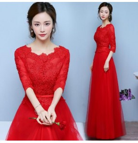 Red lace appliques middle long sleeves round neck A line pleated women's ladies female mother of brides bridesmaid evening party wedding dresses gown vestidos