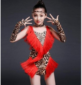 Red leopard  tiger yellow and white and black zebra fringes printed patchwork girls kids children stage performance latin salsa samba dance dresses outfits
