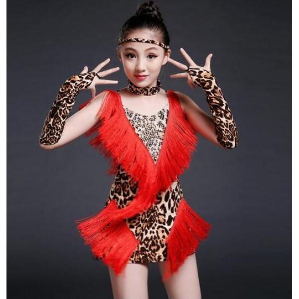 2a79b29530 Red leopard tiger yellow and white and black zebra fringes printed  patchwork girls kids children stage performance latin salsa samba dance dresses  outfits