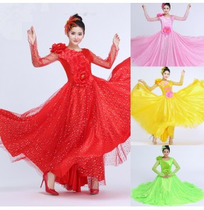 Red light pink yellow neon green long mesh see through sleeves women's petal sequins big skirted opening dancing solo flamenco Spanish bull folk dance dresses outfits