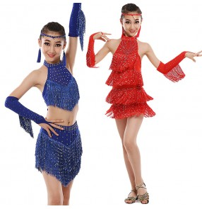 Red royal blue fuchsia hot pink fringes sequins girls kids children performance competition school play latin salsa cha cha samba dance dresses outifts