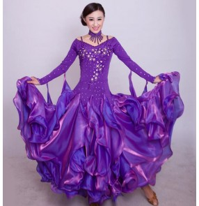 Red royal blue turquoise yellow green violet purple black white fuchsia hot pink long sleeves women's ladies female competition professional long length ballroom tango waltz dancing dresses outfits