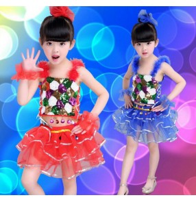 Red royal blue yellow gold sequined girl kids child children school play stage performance jazz dance costumes hip hop dance costumes