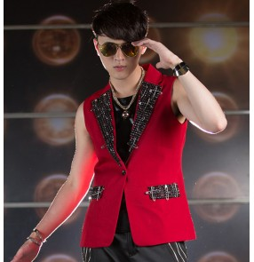 Red sequins lapel collar men's male mans  fashion competition stage performance singer dj ds jazz club party hip hop punk rock dance tops vests blazer