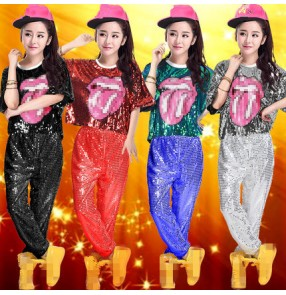 Red silver black gold blue sequins paillette women's ladies female competition hip hop singer ds dj singer performance dance costumes outfits