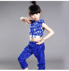 Red silver black royal blue sequined paillette girls boys kids child toddlers jazz dance hip dance stage performance modern dance costumes outfits set