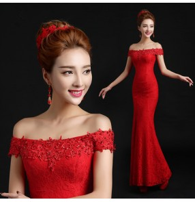 Red sleeveless short sleeves dew shoulder slash neck lace mermaid long length women's ladies female wedding party bridesmaid bride evening dresses vestidos