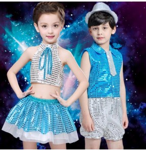 Red turquoise silver sequined patchwork child children boys girls toddlers kindergarten jazz dance stage performance play t show dance costumes outfits