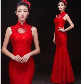 Red turtle neck cheongsam long length beaded mermaid lace sleeveless bandage back women's fashion wedding party bridesmaid bride gown evening dresses vestidos for ladies