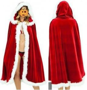 Red velvet long length girls fashion women's kids children Halloween Christmas party cos play hooded dancing performance cloak capes robes costumes