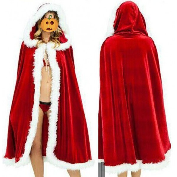 red velvet long length girls fashion womens kids children halloween christmas party cos play hooded dancing performance cloak capes robes costumes