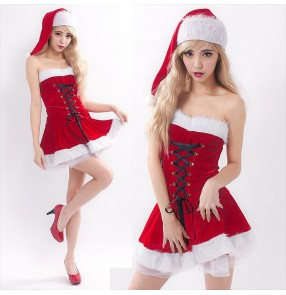 Red velvet off shoulder backless girls women's halloween christmas party performance Mrs santa cosplay dancing costumes dresses outfits