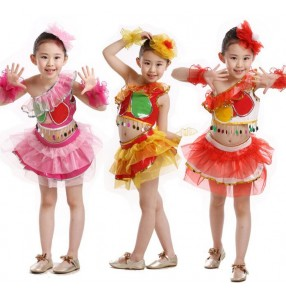 Red white fuchsia hot pink girls kids children toddlers baby kindergarten school play  one shoulder modern dance outfits costumes