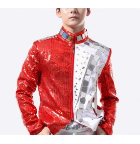 Red White mirror diamond patchwork fashion men's male motor cycle jazz hip hop stage performance singer dancing tops jackets coats