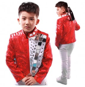 Red White mirror sequins  motor cycle rivet  patchwork boys kids children stage performance school play jazz hip hop dj singer dance costumes outfits blazers tops jacket out coat