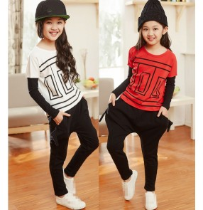 Red white patchwork long sleeves tops and harem pants fashion girls t show school play hip hop jazz dancing costumes outfits