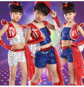 Red white royal blue sequins tuxedo sequins shrug shoulder competition performance practice jazz girls children kids boys school play hip hop performance dancing outfits costumes dance wear