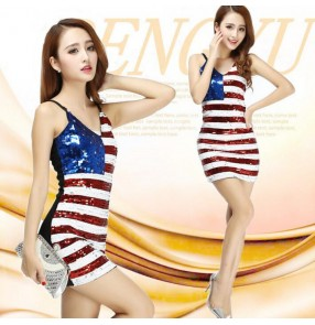 Red white striped royal blue patchwork sequins v neck slip dress tank competition performance modern dance jazz singer hip hop dance dresses outfits