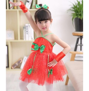 Red  with green patchwork sequined girls kids child children toddlers jazz dance modern dance performance dance dresses