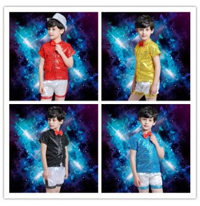 Red yellow blue turquoise black sequined paillette  short sleeves with bowknot  tie boys kids child children school play t show jazz dance modern dance hip hop dance outfits costumes