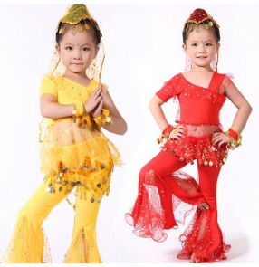 Red yellow gold one shoulder sleeves girls kids children child competition performance cos play jazz modern dance costumes