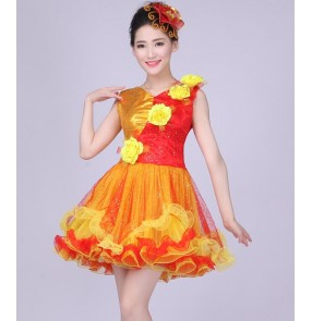 Red yellow gold sequins patchwork women's ladies female modern dance stage performance jazz opening dancing singer ds dance dresses outfits