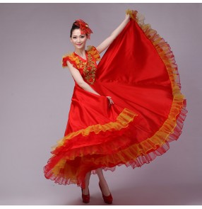Red yellow patchwork big swing skirted sleeveless v neck women's ladies stage performance flamenco spanish bull opening chorus dancing  folk dance dresses outfits costumes