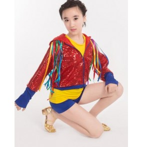 Red yellow royal blue patchwork sequins glitter long sleeves out wear girls kids children school play stage performance jazz singer hip hop cosplay dancing outfits costumes