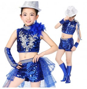 Royal blue black sequined modern kindergarten dance boys girls jazz dance costumes outfits t show school play costumes