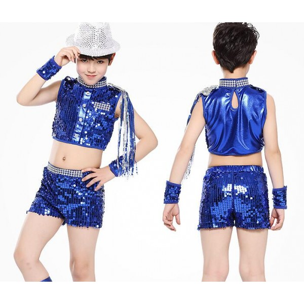 Royal blue black sequined modern kindergarten dance boys girls jazz dance  costumes outfits t show school play costumes e0abd9d1a