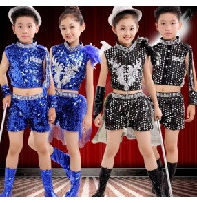 Royal blue black sequins lrhinestones feather leather patchwork girls kids children boys performance competition school play jazz hip hop dance costumes outfits dance wear clothes