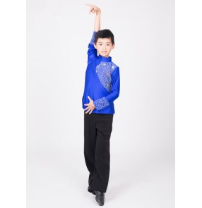 Royal blue black turtle neck spandex long sleeves boys kids children rhinestones competition performance professional  latin ballroom dance tops shirts (only shirt)