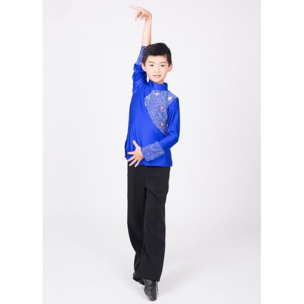 Royal Blue Black Turtle Neck Spandex Long Sleeves Boys