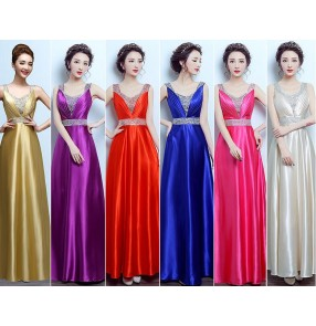 Royal blue champagne gold fuchsia hot pink red violet A line rhinestones women's ladies f wedding bridal bridesmaid evening party performance V neck dresses