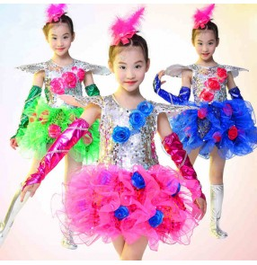 Royal blue fuchsia green silver patchwork sequined girls kids child children toddlers kindergarten modern dance stage performance jazz dance dresses school play outfits costumes