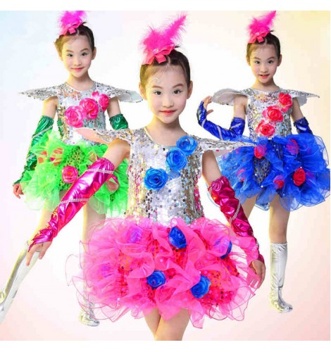 Royal Blue Fuchsia Green Silver Patchwork Sequined Girls