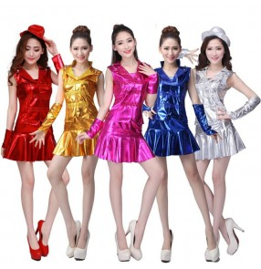 Royal blue fuchsia hot pink gold silver red sequins leather glitter modern dance hip hop jazz singer performance hip hop cosplay cheer leading dancing costumes outfits