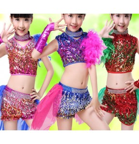 Royal blue fuchsia hot pink red gradient rainbow sequins colored girls kids baby toddlers kindergarten school play modern dance jazz hip hop dance outfits dresses
