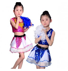 Royal blue fuchsia sequined patchwork split set girls kids children kids child toddlers modern dance stage performance jazz dance outfits costumes dresses
