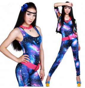 Royal blue fuchsia spandex sky stars printed women's ladies fashion stage performance singer jazz dancing leotards pants bodysuits catsuits jumpsuits