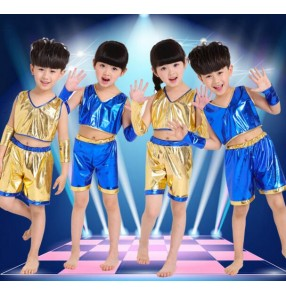 Royal blue gold yellow pu leather girls boys modern dance  toddlers school play t show hip hop jazz dance stage performance outfits costumes