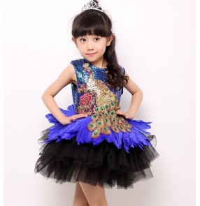 Royal blue green black patchwork feather sequins embroidery peacock pattern girls kids children princess jazz singer stage performance school play t show