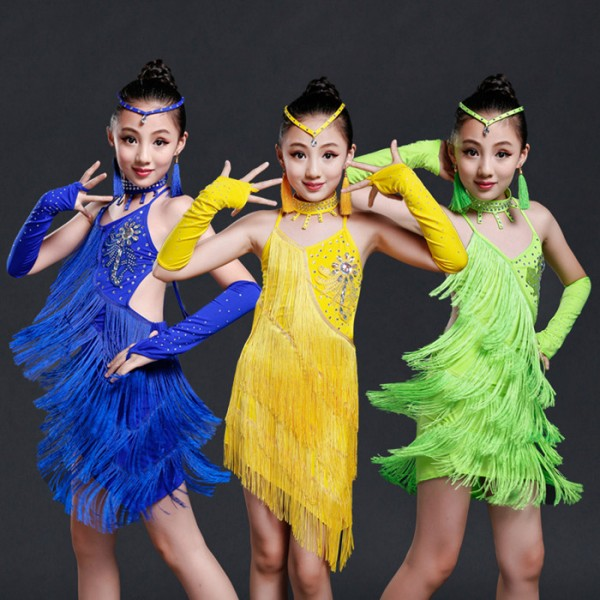 ... blue neon green yellow gold sequins fringes rhinestones girls kids  children performance professional latin salsa cha cha dance dresses outfits  costumes bf2b5a9bb6d3