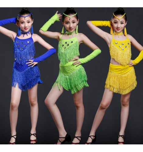 Royal blue neon green yellow sequins rhinestones backless fringes girls  kids baby children stage performance latin salsa dance dresses outfits  costumes 30f5c9def241