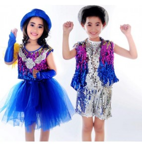 Royal blue rainbow colored sequined patchwork girls kids children boys toddlers modern t show school jazz dj ds dance outfits costumes